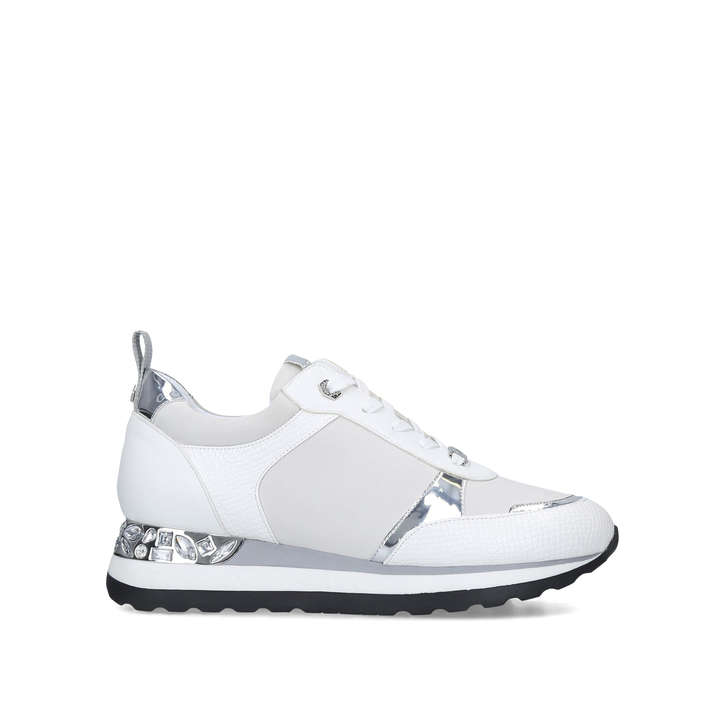 JEMM White Embellished Sneakers by