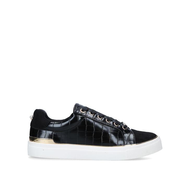 KINGY Black Croc Print Lace Up Trainers