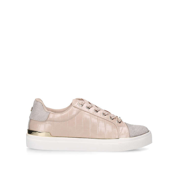 KINGY Pink Croc Print Lace Up Trainers