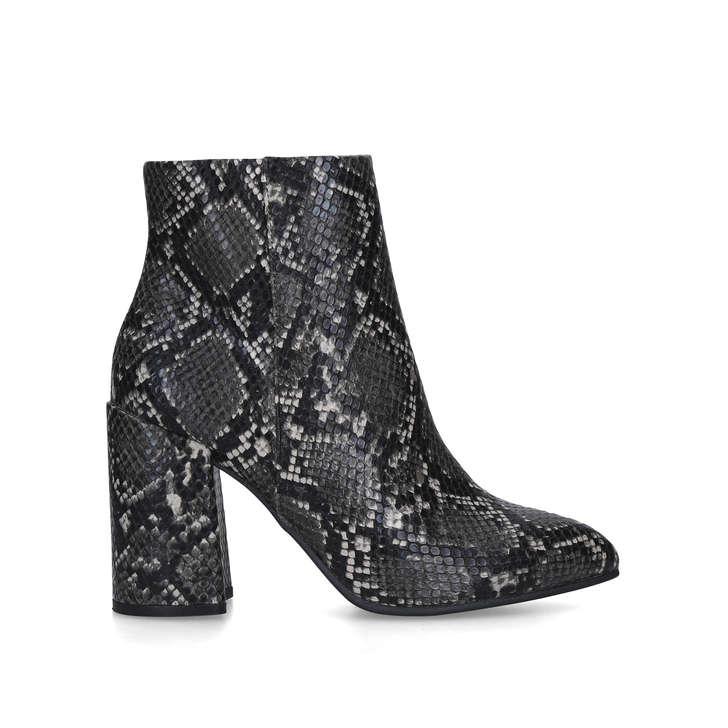 snake print block heel booties