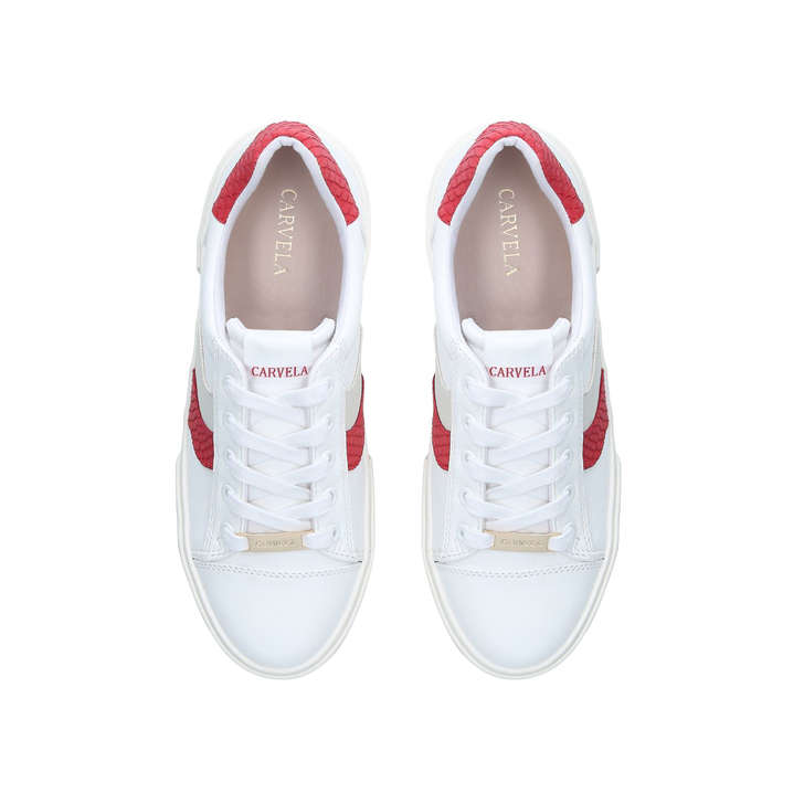 Lighter White And Red Lace Up Trainers