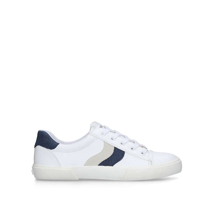 LIGHTER White And Navy Lace Up Trainers
