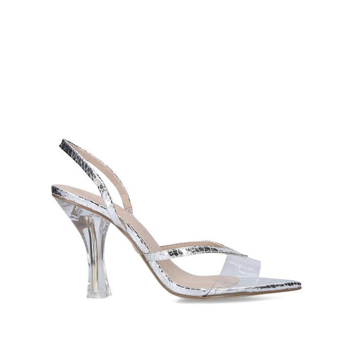 PAMILA Silver Perspex Strappy Heel