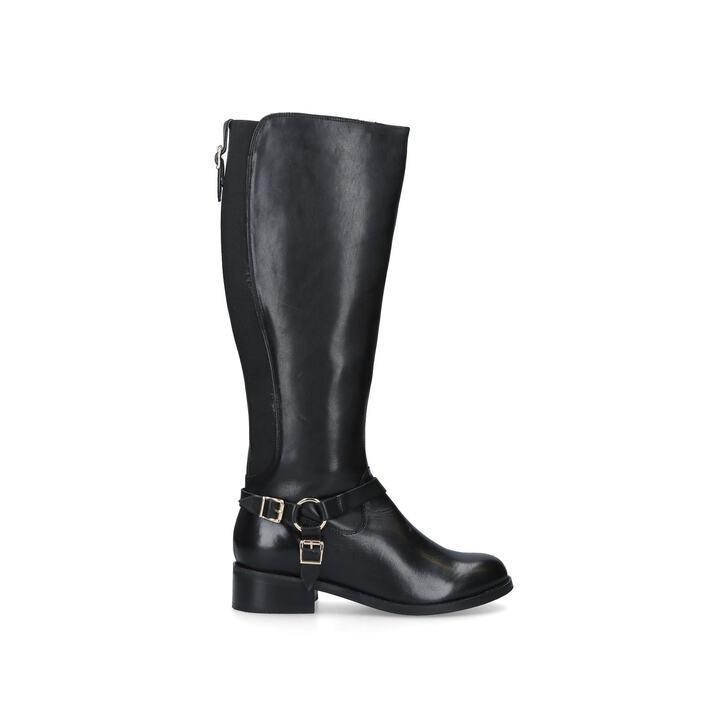 PETRA Black Leather Buckle Detail Knee