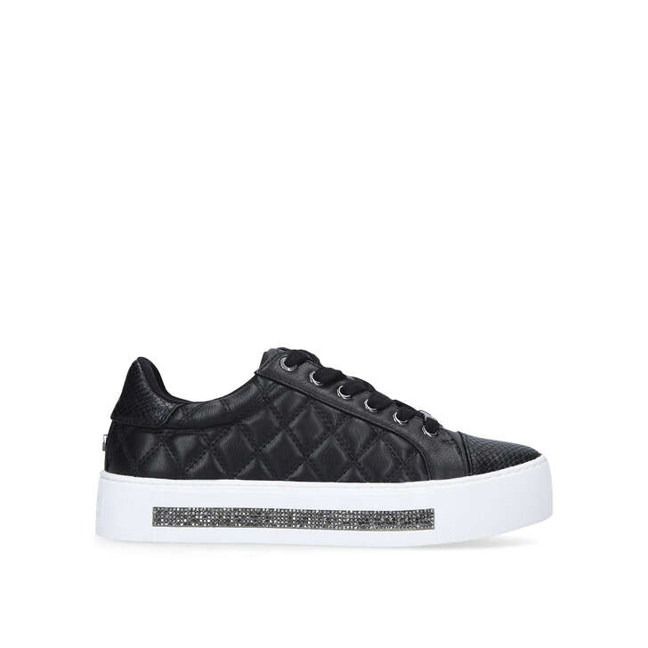 JEO Black Quilted Embellished Sneakers