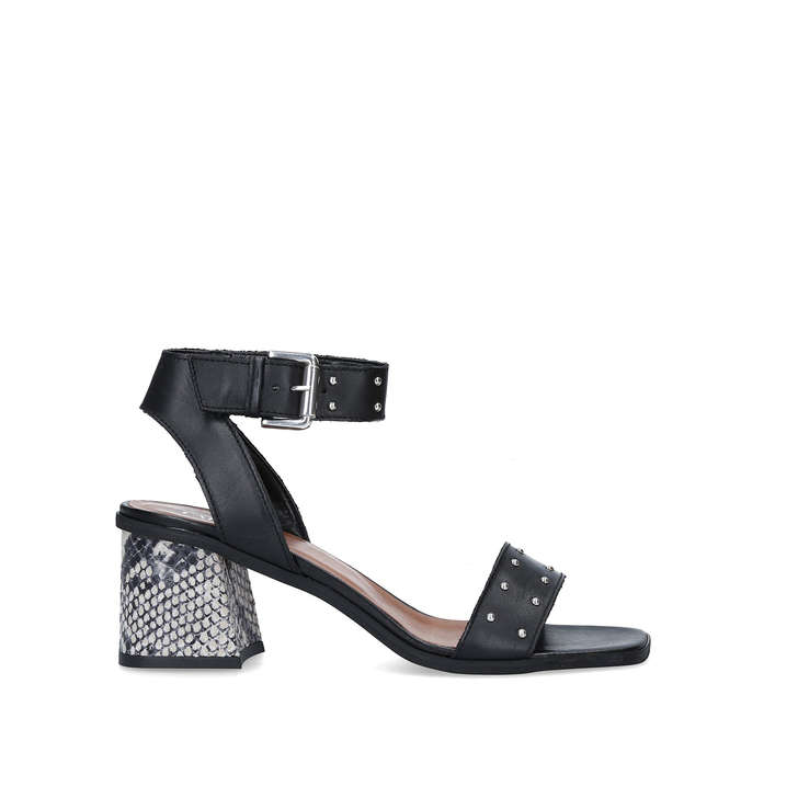 KORIANDER Black Studded Block Heel