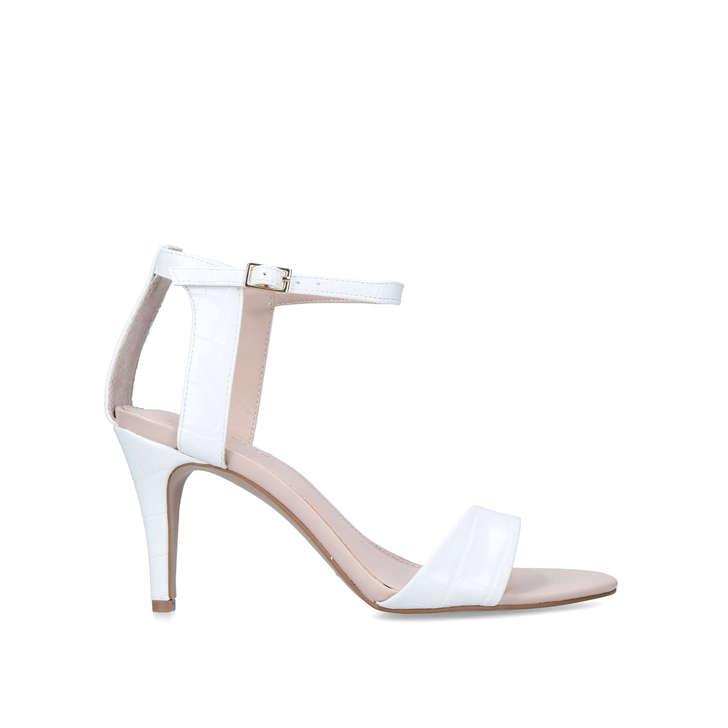 White Croc Stiletto Heel Sandals