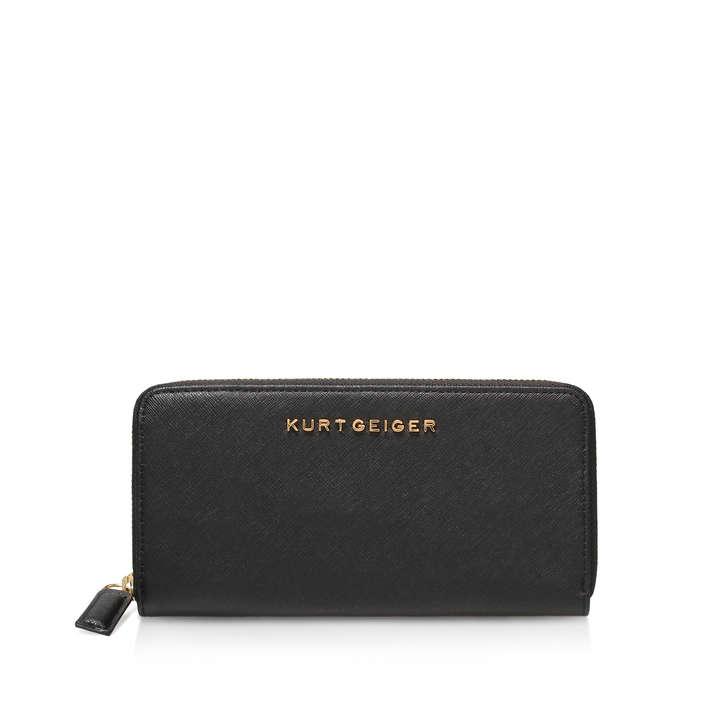 d3a7add00a3d8f Leather Zip Around Wallet Black Saffiano Zip Around Wallet By Kurt Geiger  London | Kurt Geiger