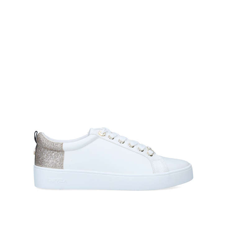 JUPITER Gold Glitter Lace Up Sneakers