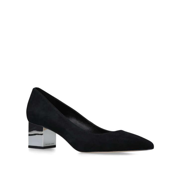 PETRA PUMP Black Embellished Block Heel