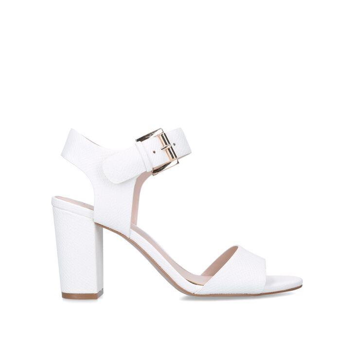 SADIE White Block Heel Sandals by