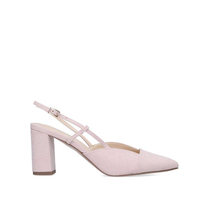 WHITNEY Pale Pink Block Heel Court