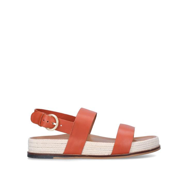 KIN Orange Leather Flatform Sandals by