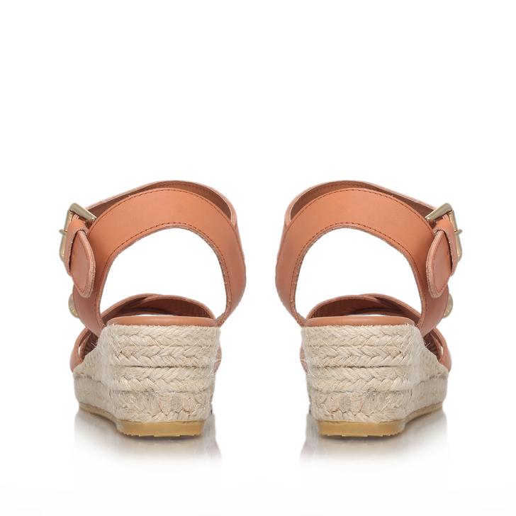 cf46bf4cc8704 Libby Tan Low Heel Wedge Sandals By Kurt Geiger London