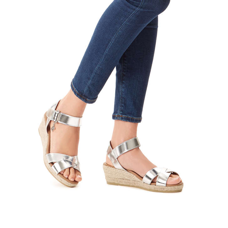 56ae681bd0c Libby Silver Mid Heel Wedge Sandals By Kurt Geiger London