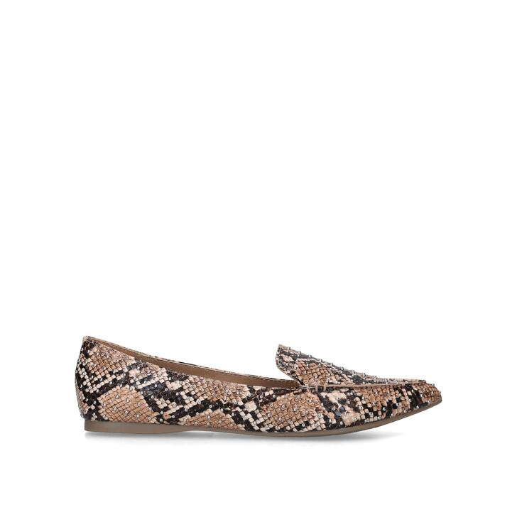 conductor mediodía Adoración  POINTED TOE LOAFER WITH Snake Print Studded Loafers by STEVE MADDEN | Kurt  Geiger