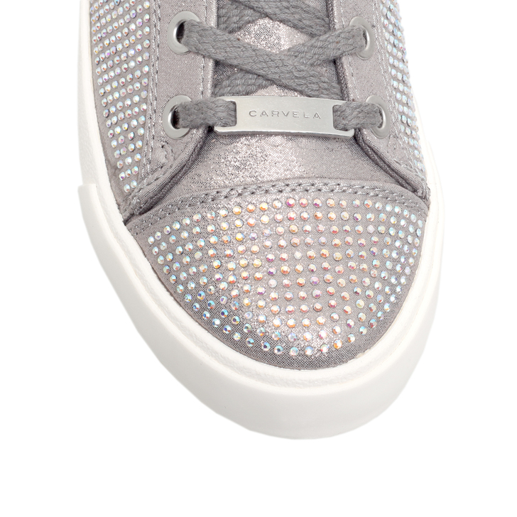 Lock Silver Flat Low Top Trainers By