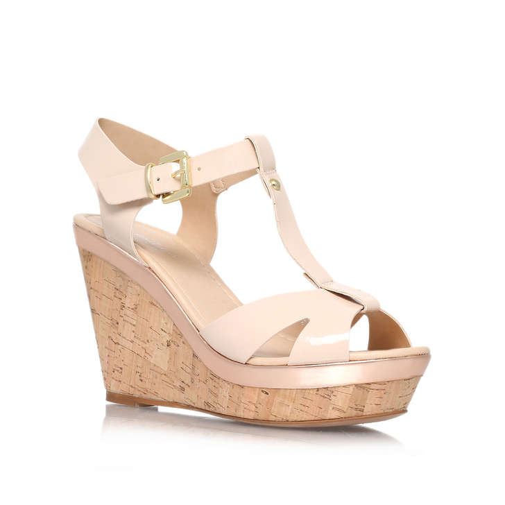 428122c2fed1 Kabby Nude High Heel Wedge Sandals By Carvela