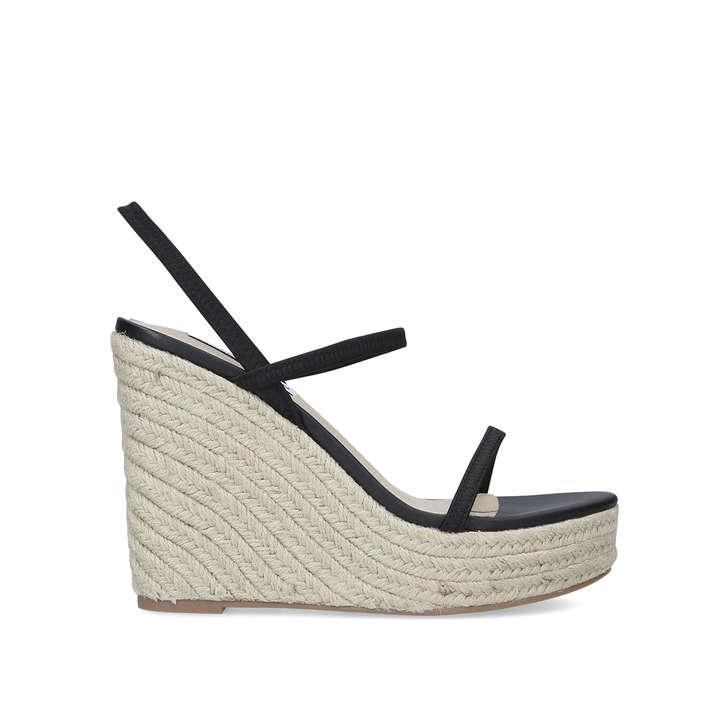 SKYLIGHT Black Wedge Heel Sandals by