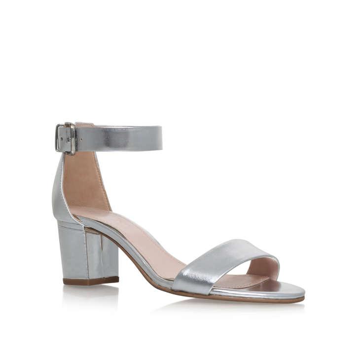 Krisp Silver Mid Heel Sandals By Carvela Kurt Geiger | Kurt Geiger