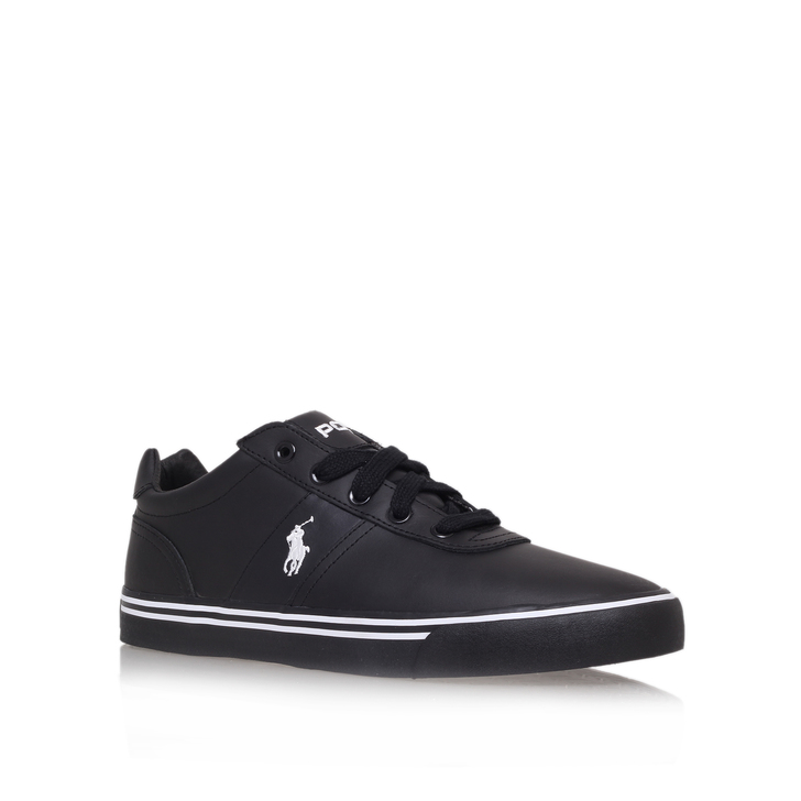 7ac1ceff2ed Hanford Leather Spec Black Flat Low Top Trainers By Polo Ralph Lauren |  Kurt Geiger