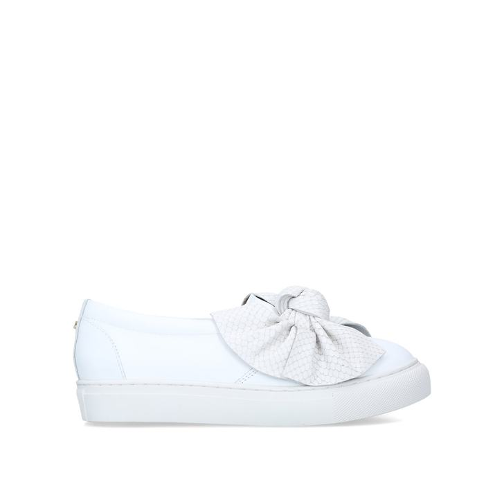 JEDD White Leather Bow Slip On Trainers