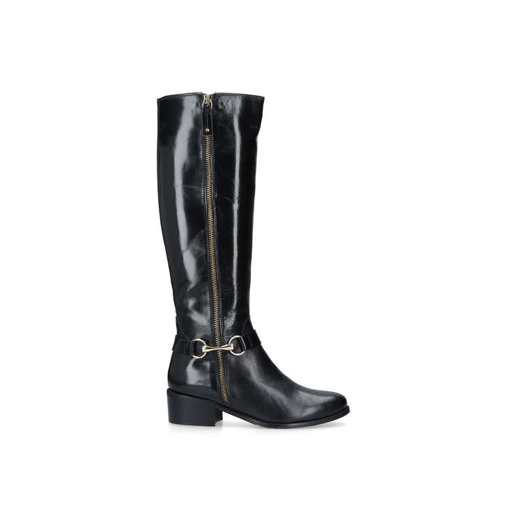 Waffle Black Low Heel Knee Boots By Carvela Kurt Geiger | Kurt Geiger