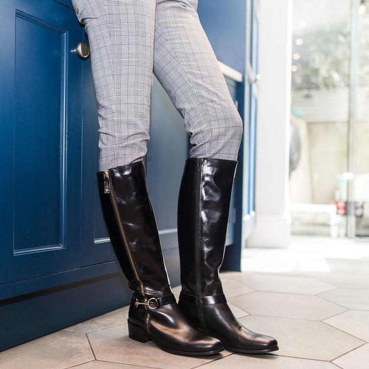Waffle Black Low Heel Knee Boots By Carvela Kurt Geiger