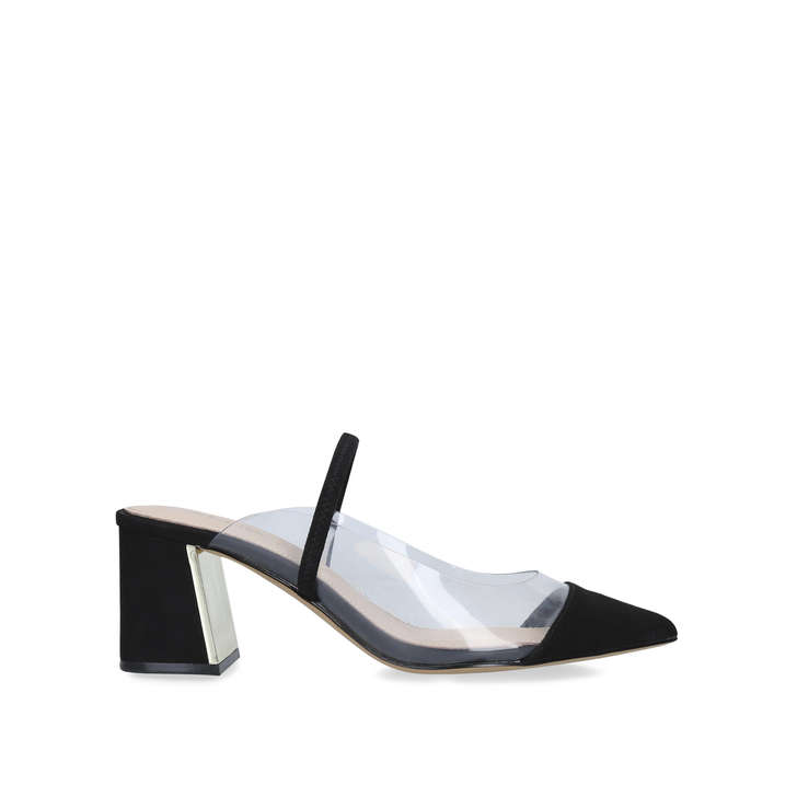Chaleclya Black Block Heel Mules By