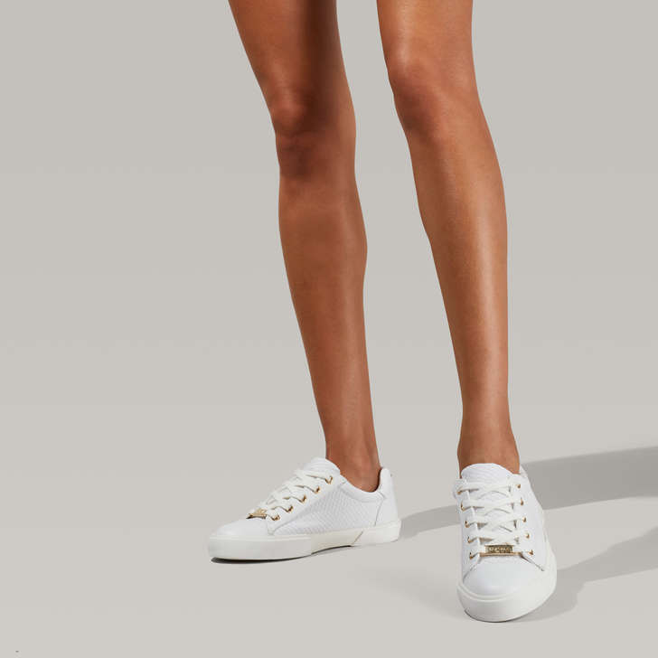 Light White Snake Print Sneakers By