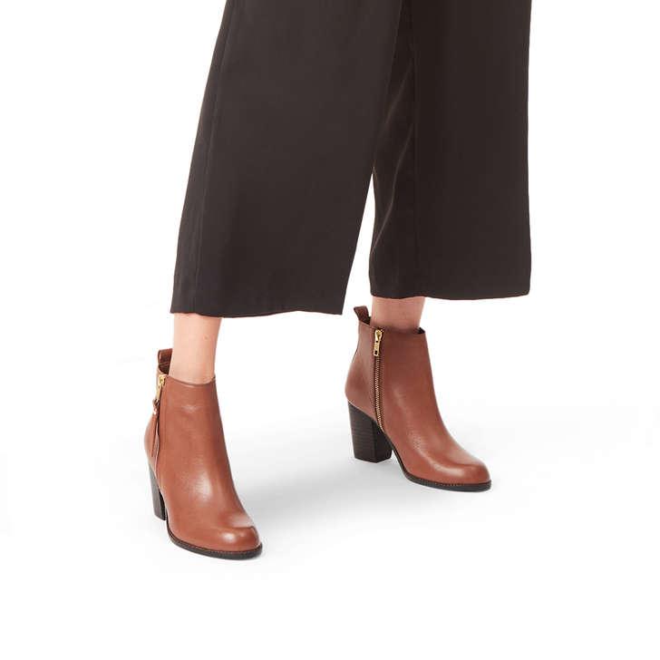 Tanga Tan Leather Block Heel Ankle