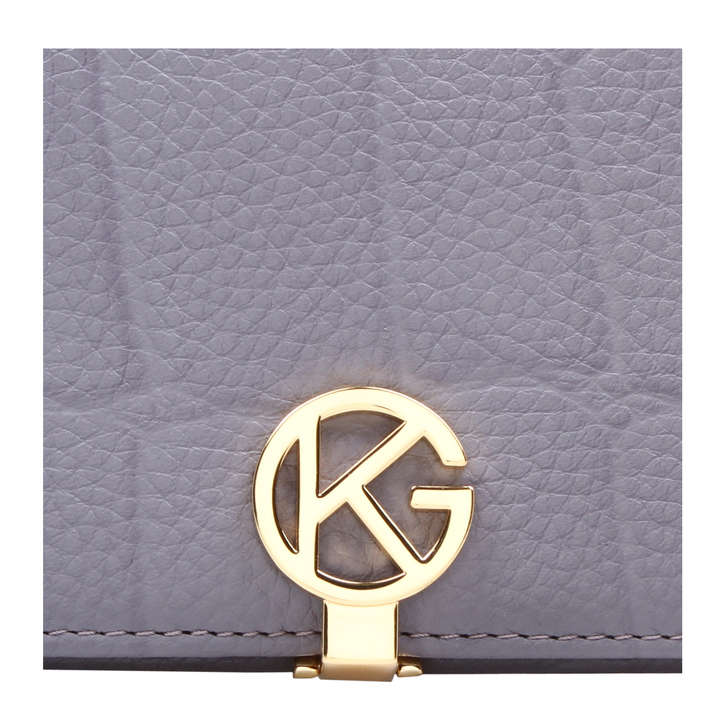 Leather Logo Wallet Grey Leather Wallet By Kurt Geiger