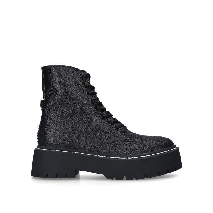 SKYLAR Black Glitter Hiker Boots by