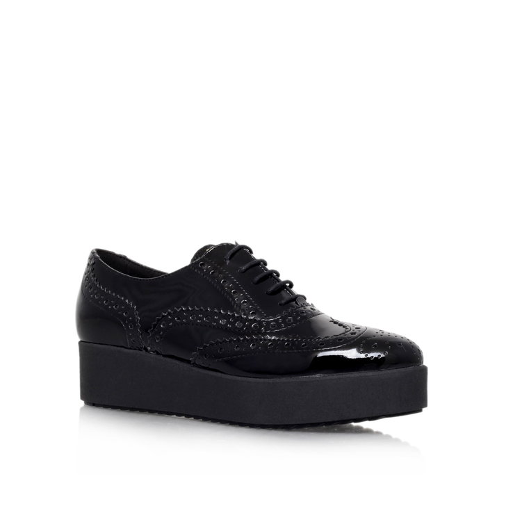 Leslie Black Platform Brogue Shoes By