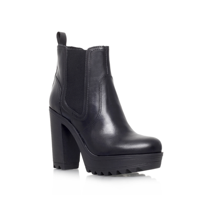 Silver Black High Heel Ankle Boots By