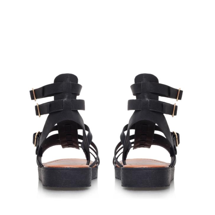 Devon Black Flat Sandals By Miss KG | Kurt Geiger