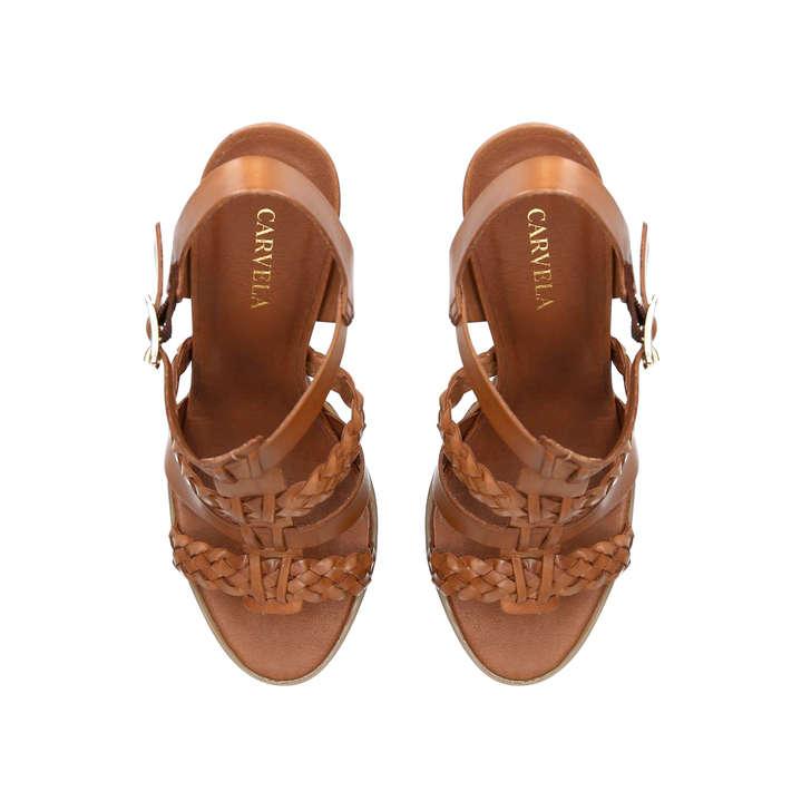 Krill Tan Block Heeled Sandals By Carvela Kurt Geiger