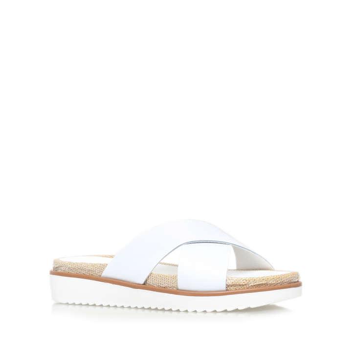 Kream White Flat Sliders By Carvela Kurt Geiger