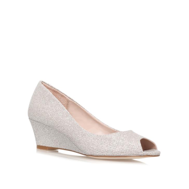 92252fc1b1 Kim Silver Low Heel Wedge Shoes By Carvela | Kurt Geiger