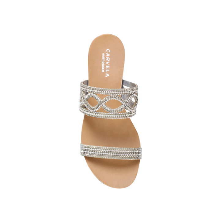 4c8e15eeb Barbara Silver Flat Sandals By Carvela