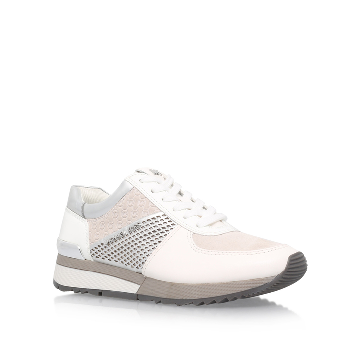 df8d5406eaf Allie Trainer Silver Flat Low Top Trainers By Michael Michael Kors ...