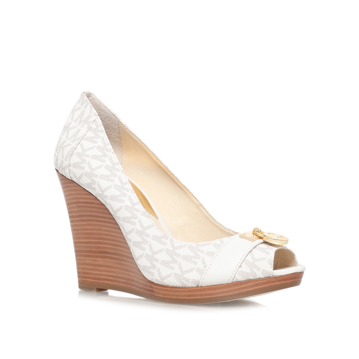 f1941639f721 Hamilton Wedge Cream High Heel Wedge Shoes By Michael Michael Kors ...