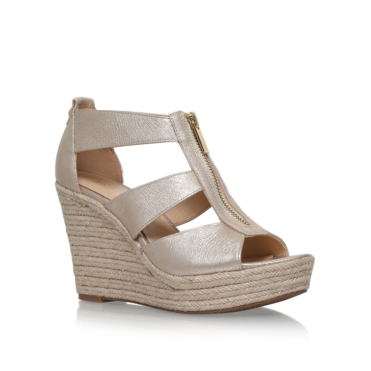 ed10764dc4e5 Damita Wedge Gold High Heel Wedge Sandals By Michael Michael Kors | Kurt  Geiger