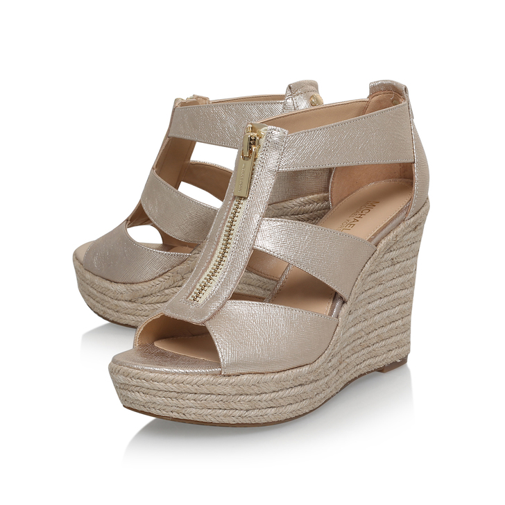 3123c56c2df Damita Wedge Gold High Heel Wedge Sandals By Michael Michael Kors ...