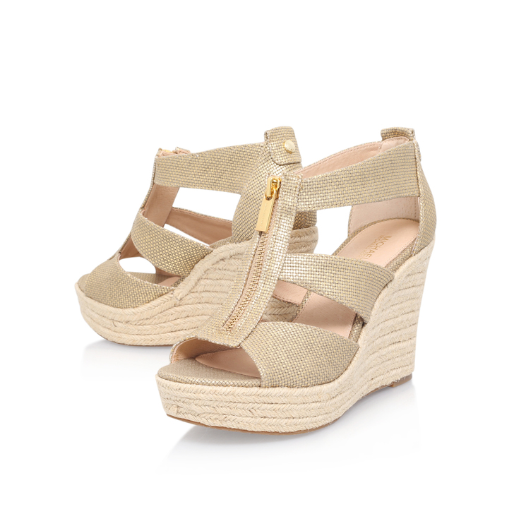 635cf362c5e4 Damita Wedge Gold High Heel Wedge Sandals By Michael Michael Kors ...