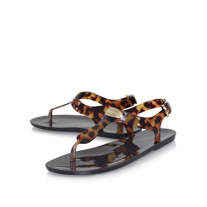 Mk Plate Jelly Brown Flat Sandals By Michael Michael Kors