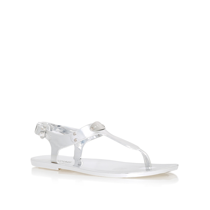 9d80aa25ec8 Mk Plate Jelly Silver Flat Sandals By Michael Michael Kors
