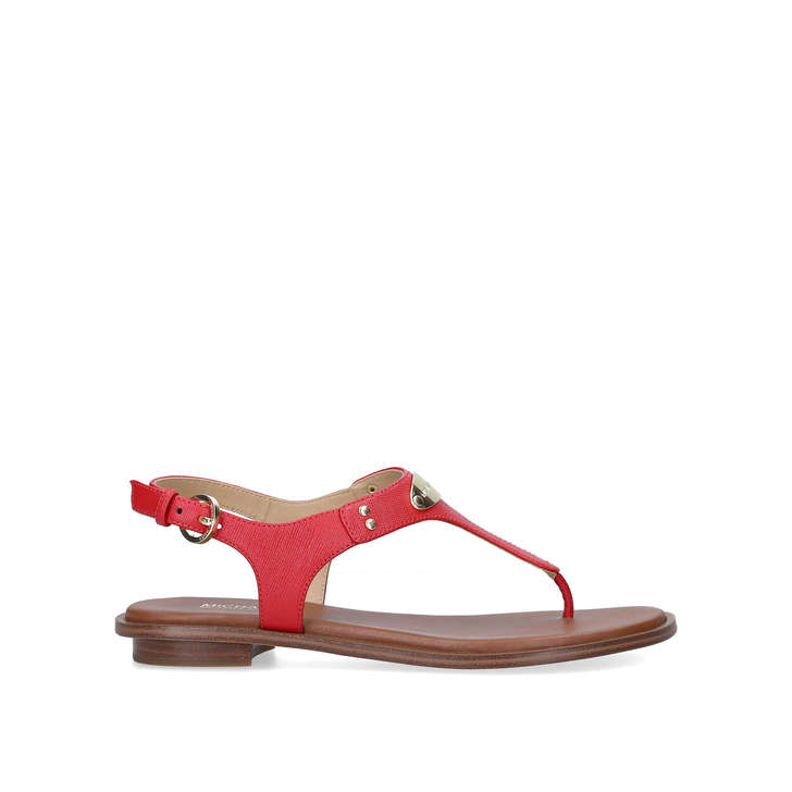 Mk Plate Thong Red Flat Sandals By