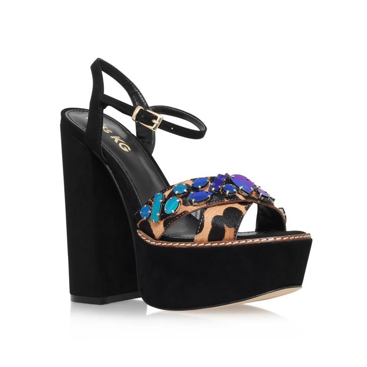 eb757346b360a Essence Black High Heel Platform Sandals By Miss KG