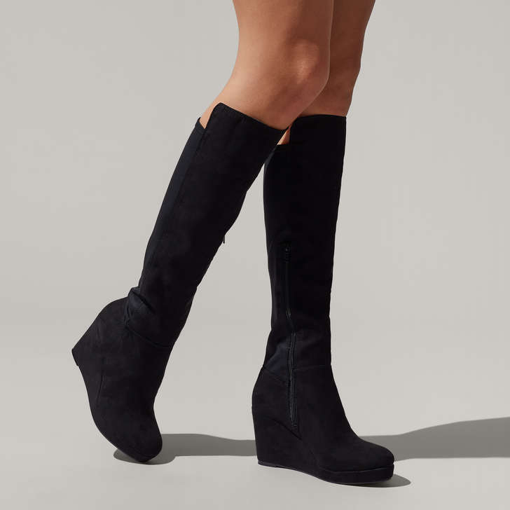 7ab8fce2890 Harley2 Black Mid Heel Over The Knee Boots By Miss KG